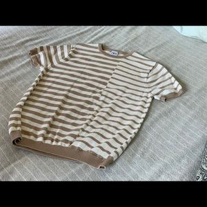 Zara Mens small s/s knit striped sweater
